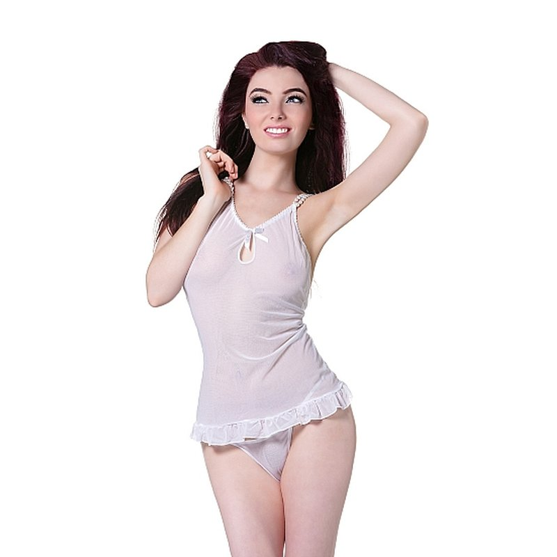 Image of Babydoll mit rosa Band & String Weiss/Perlen S/M | De Namour Linge